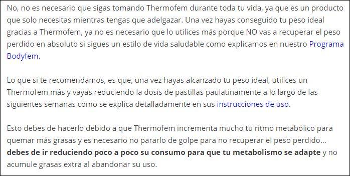 Como reducir la dosis de Thermofem?